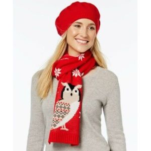 Charter Club Scarf Hat Gift Set New Beret Owl